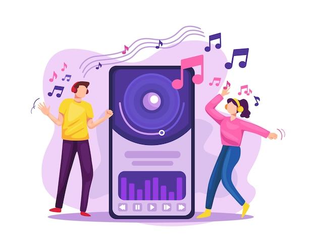 Ludzie przesyłający strumieniowo muzykę na platformie internetowej