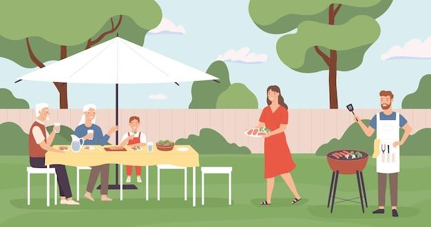 Ludzie przy grillu. szczęśliwa rodzina, przyjaciele spędzać czas w domu piknik na podwórku, gotowanie grill i rozmowy, koncepcja wektor wypoczynek na świeżym powietrzu. ilustracja przyjaźń z grilla na podwórku