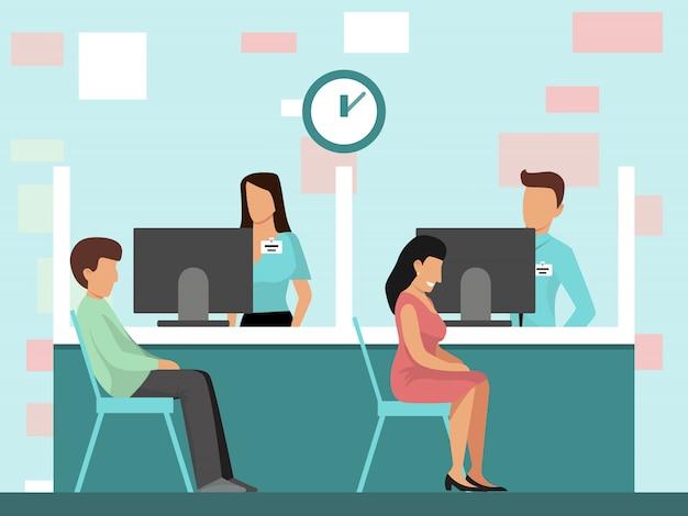Ludzie przy kredytowym działem w bank biurowej wektorowej ilustraci. mężczyzna i kobieta siedzą w biurze banku w pobliżu menedżerów. biznesmeni przy banka wnętrzem.