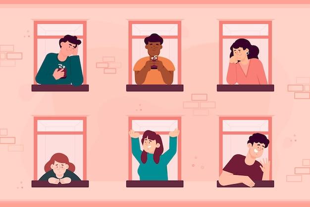 Ludzie przy swoich oknach wykonują różne czynności