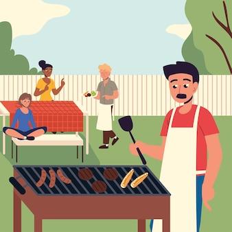 Ludzie przygotowujący jedzenie na podwórku