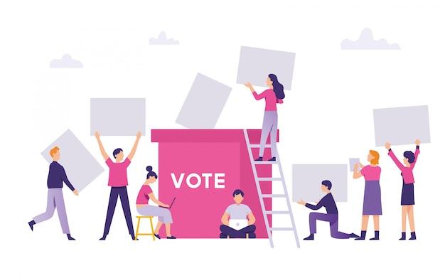 Ludzie przynieśli wyniki głosowania w wyborach powszechnych do skrzynki wyborczej