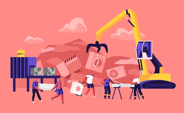 Ludzie Przynoszą Stare Metalowe Rzeczy I Zepsutą Technikę Do Zakładu Recyklingu. Płaskie Ilustracja Kreskówka Premium Wektorów