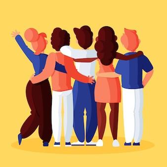 Ludzie przytulanie na koncepcji dzień młodości