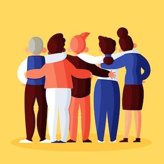 Ludzie przytulanie na projekt dzień młodzieży