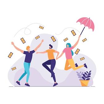 Ludzie radują się ilustracją dolary deszczu