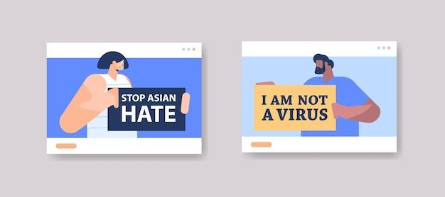 Ludzie rasy mieszanej posiadający plakaty tekstowe przeciwko rasizmowi. przestań nienawidzić azjatów?
