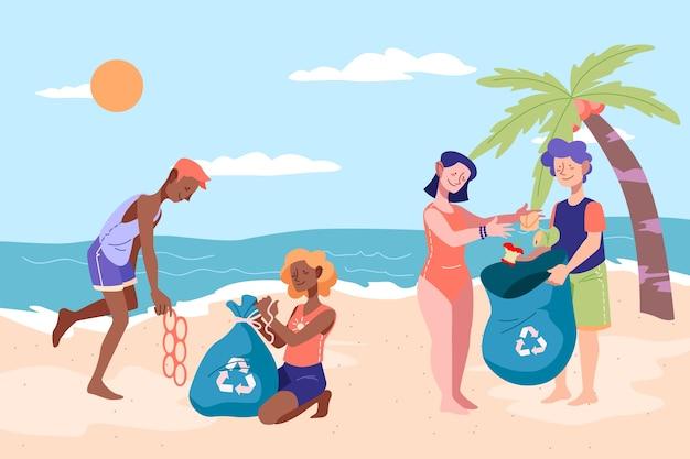 Ludzie razem sprzątają plażę