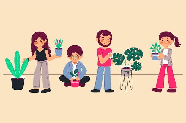 Ludzie razem zajmujący się roślinami
