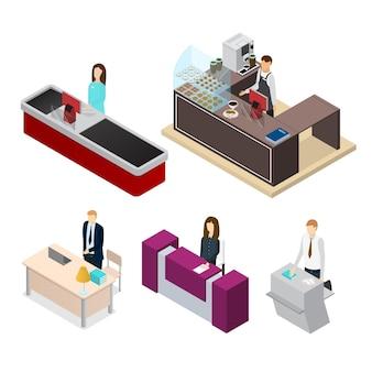 Ludzie recepcjonistki ustawiają widok izometryczny kasjera, baristy, sekretarza lub sekretarza na sprzęcie w miejscu pracy. ilustracja wektorowa