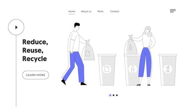 Ludzie recykling śmieci strona docelowa witryny sieci web.