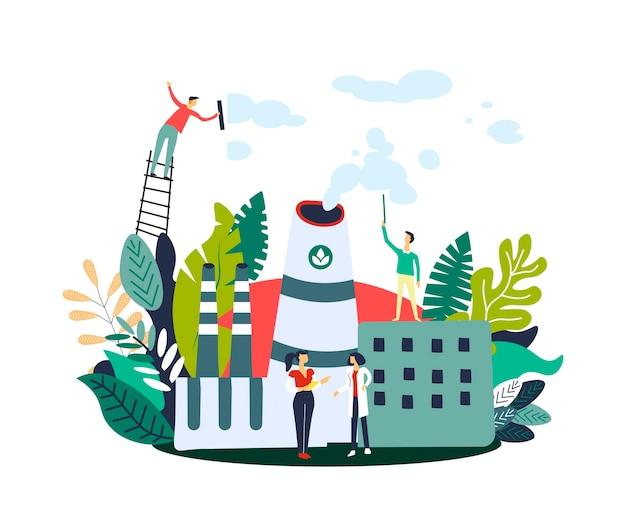 Ludzie redukcji emisji gazu w fabryce ekologicznej