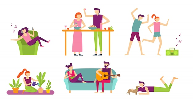 Ludzie rekreacji w domu. młoda para spędza wakacje i odpoczywa, gotuje i je lub słucha muzyki. mieszkanie na białym tle zestaw