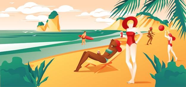 Ludzie relaksujący na plaży lub letnim wybrzeżu tropikalnym.