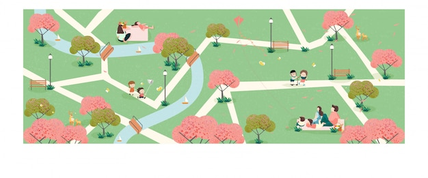 Ludzie relaksujący się na łonie natury w okresie wiosennym w parku. szeroki panoramiczny sztandar wiosny.