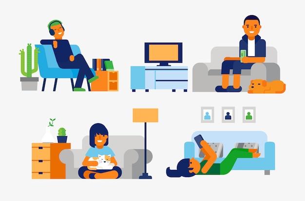 Ludzie relaksujący w domu