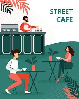 Ludzie relaksujący w letniej kawiarni na świeżym powietrzu, relaks