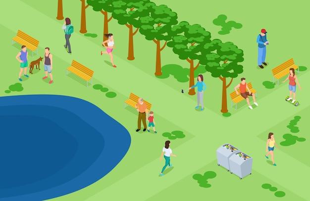 Ludzie relaksuje i biega w parkowym tle
