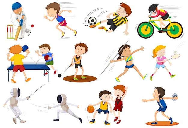 Ludzie robi różne rodzaje ilustracji sportowych