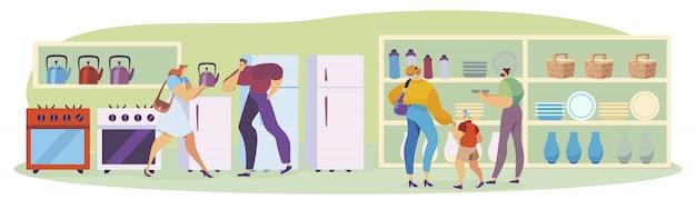 Ludzie robi zakupy dla domowego wyposażenia w dom towarowy elektroniczni przedmioty dla domu, mężczyzna i kobiety, kupują ilustrację.