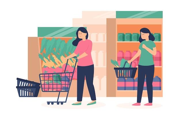Ludzie robi zakupy sklepy spożywczych ilustracyjnych
