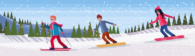 Ludzie robią banner sportów zimowych