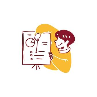 Ludzie robią biznes wykres prezentacja analiza koncepcja ikona ilustracja zarys ręcznie rysowane styl