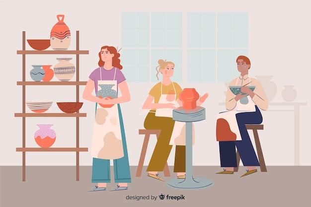Ludzie robią ceramikę płaska