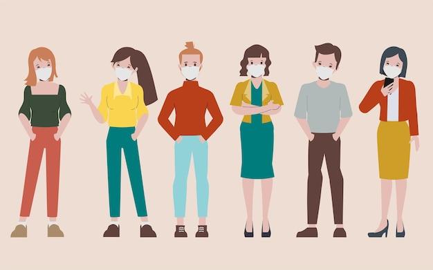 Ludzie robią dystans społeczny na przystanku autobusowym podczas covid19 koronawirusa nowym normalnym stylem życia