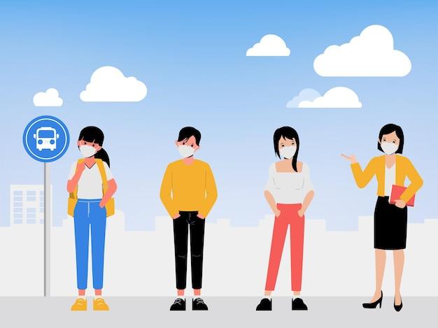 Ludzie robią dystans społeczny na przystanku autobusowym podczas epidemii koronawirusa covid19, nowy normalny styl życia
