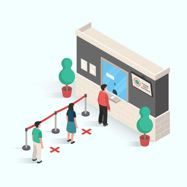 Ludzie robią dystans w przestrzeni publicznej, aby zapobiec infekcji wirusem i usunąć choroby w projekcie izometrycznym