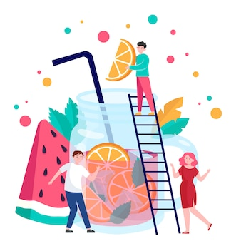 Ludzie robią napoje owocowe