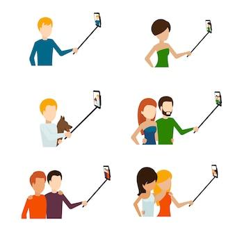 Ludzie robią płaski zestaw selfie.