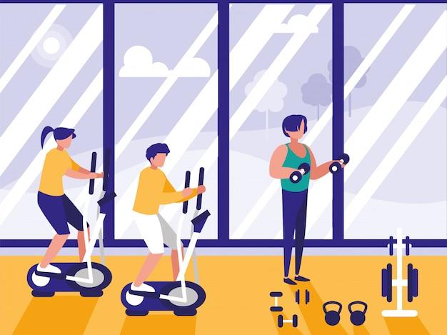 Ludzie robią przędzenia w siłowni