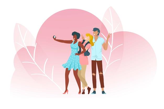 Ludzie robią selfie, różowa kompozycja z liśćmi, dorosły, piękne zdjęcie młodzieży, urządzenie mobilne, ilustracja. fotografuj ładne dziewczyny, mężczyznę, kobiety, nastolatki turystów.