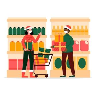 Ludzie robią świąteczne zakupy w maskach medycznych
