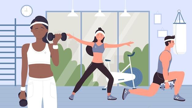 Ludzie robią trening sportowy z hantlami w treningu na siłowni ze sprzętem sportowym