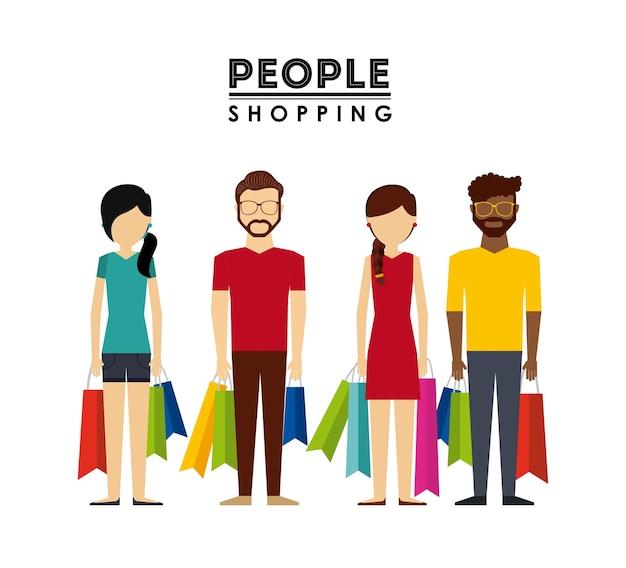 Ludzie robią zakupy projekt, wektorowa ilustraci eps10 grafika