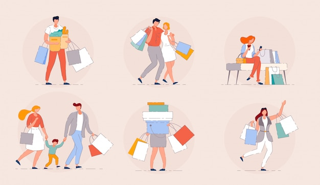 Ludzie robią zakupy. szczęśliwe rodzinne zakupy w koncepcji sezonu sprzedaży w centrum handlowym. grupa ludzi torby na zakupy z zakupami. kreskówka para klientów na białym tle wektor. szczęśliwa dziewczyna siedzi w centrum handlowym z torbami.