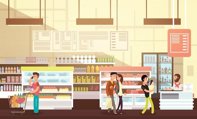 Ludzie robią zakupy w sklepie spożywczym. supermarket detalicznej wnętrz z płaskim ilustracji wektorowych klientów