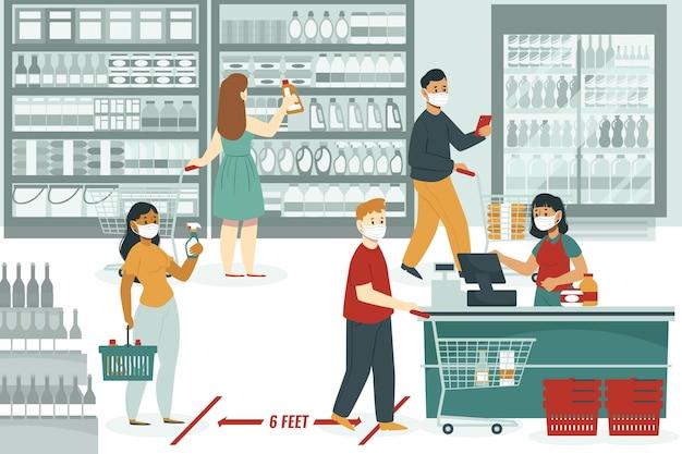 Ludzie robią zakupy w supermarkecie