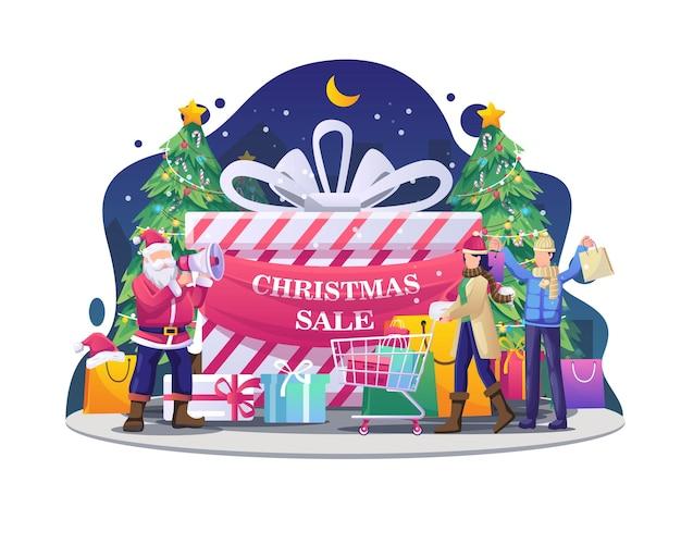 Ludzie robią zakupy ze świętym mikołajem za pomocą megafonów podczas promocji na ilustracji świątecznej wyprzedaży