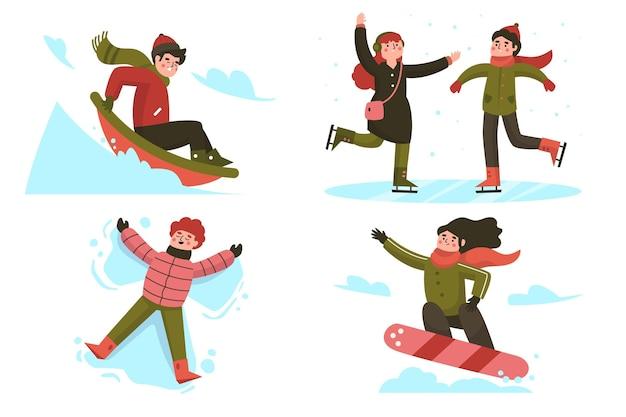 Ludzie robią zimowe zajęcia na świeżym powietrzu