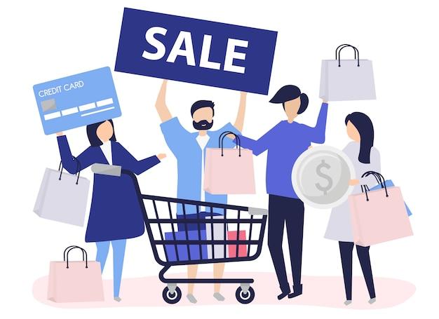 Ludzie robiący zakupy za pomocą karty kredytowej