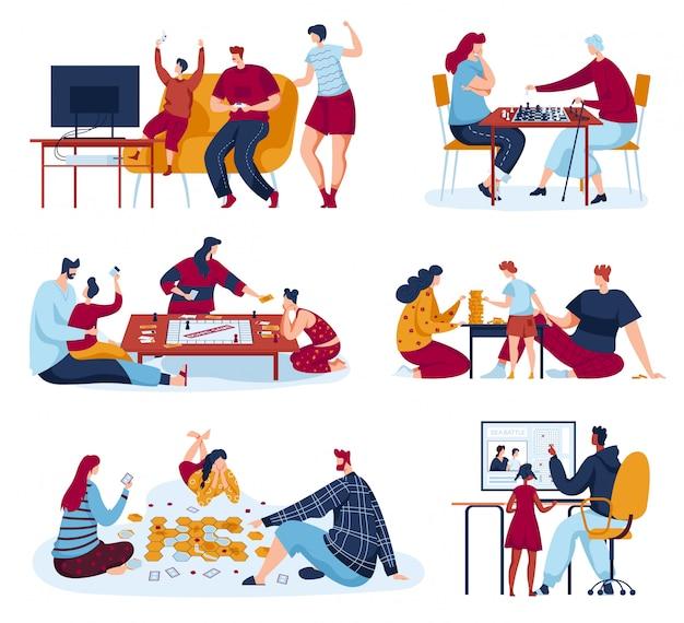 Ludzie rodzinni grają w ilustracje z gier planszowych, postaci z kreskówek matki, ojca i dzieci grających w szachy lub strategie gry
