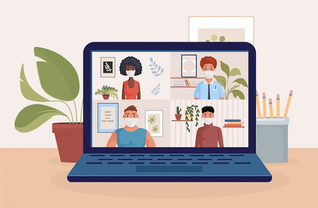 Ludzie rozmawia z przyjaciółmi lub kolegami na ekranie laptopa, ilustracji. konferencja wideo, praca zdalna.