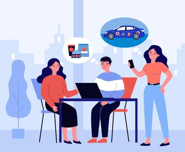 Ludzie rozmawiają i myślą o różnych rzeczach. samochód, fast-food, laptop płaski wektor ilustracja