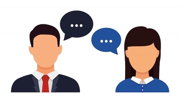 Ludzie rozmawiają, mężczyźni i kobiety z kolorowymi dymkami dialogowymi