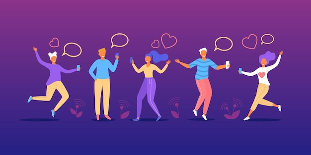 Ludzie rozmawiają na czacie komunikują się za pomocą wiadomości bąbelek ilustracji wektorowych szczęśliwy mężczyzna kobieta przyjaciele charak...