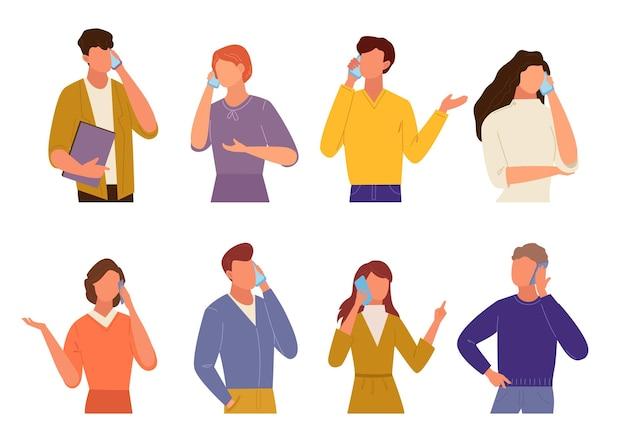 Ludzie rozmawiają na zestawie telefonu. komunikacja w trybie kwarantanny inny facet z telefonu komórkowego to dziewczyna, komunikacja biznesowa, najnowsze wiadomości z życia konwersacyjnego.